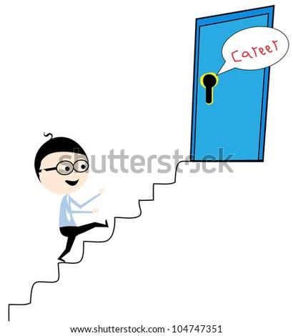 businessman toward the career ladder - stock vector