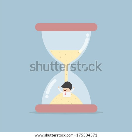 Businessman Trapped in Hourglass, VECTOR, EPS10 - stock vector