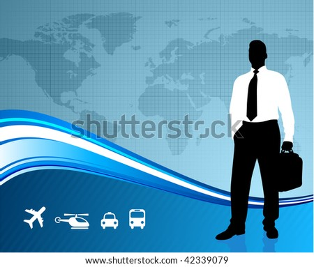 businessman travel with world map
