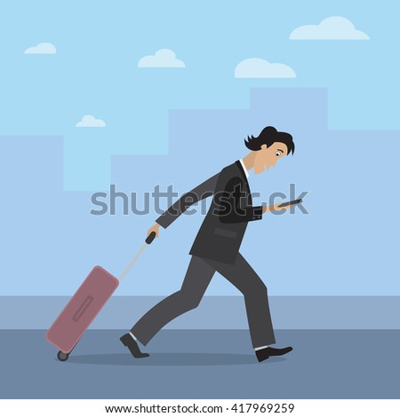 Businessman traveling. A busy man is walking with a travel bag and looking at his smartphone. Man in a suit going on a business trip.  - stock vector