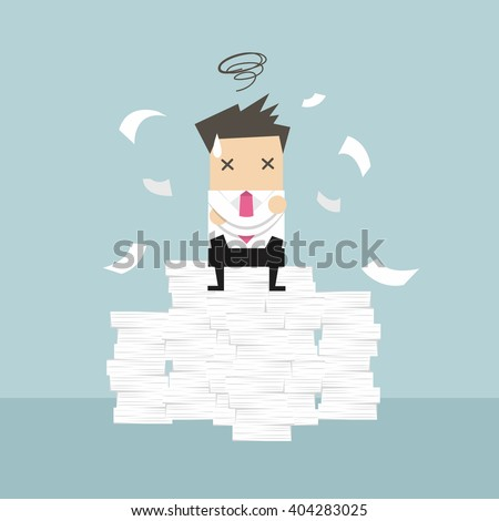 Businessman tried and stressed on paperwork