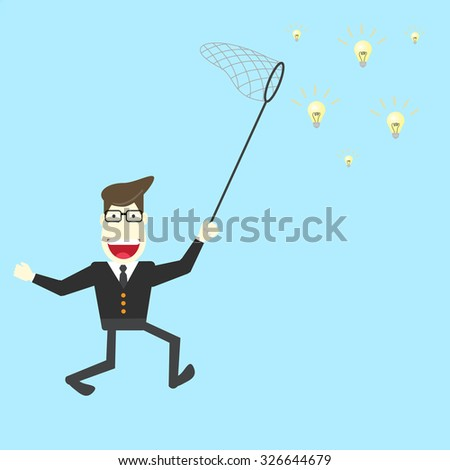 Businessman tries to capture ideas with net - stock vector