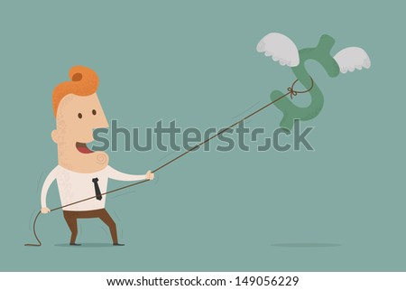 Businessman try to catch flying money in the air  ,Vector EPS 10 - stock vector