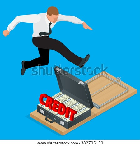 Businessman trying to avoid credit finance banking. Style money isometric. Credit loan trap concept. Mousetrap with Lot of money in a suitcase. Flat 3d isometric business concept.  - stock vector