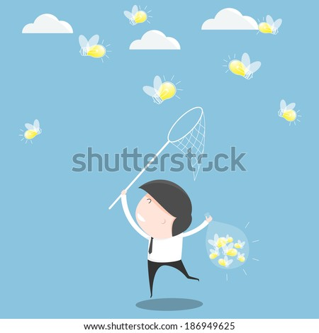 Businessman trying to catch a light bulb. vector illustration - stock vector