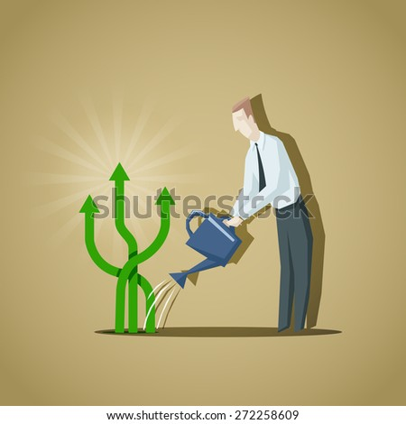 Businessman trying to grow up a business indicators. Raise of business indicators. - stock vector