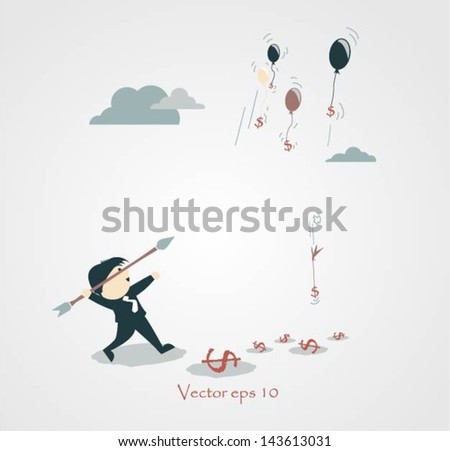 Businessman trying to hit a high target with a large dart to achieve his goal. - stock vector