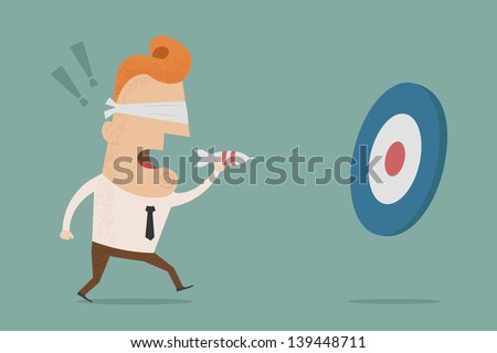 Businessman trying to hit a target with darts , Vector EPS10 - stock vector