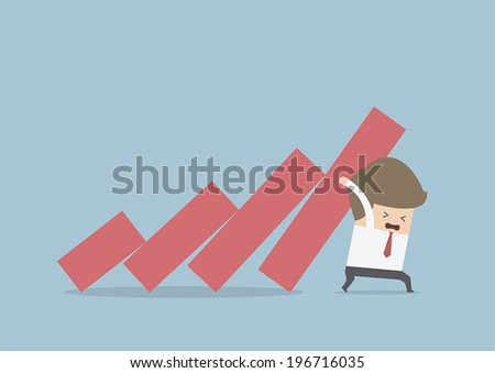 Businessman trying to stop falling graph, VECTOR, EPS10 - stock vector