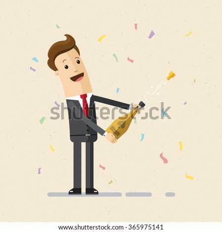Businessman uncorking a bottle of champagne. Illustration,  vector EPS 10. - stock vector