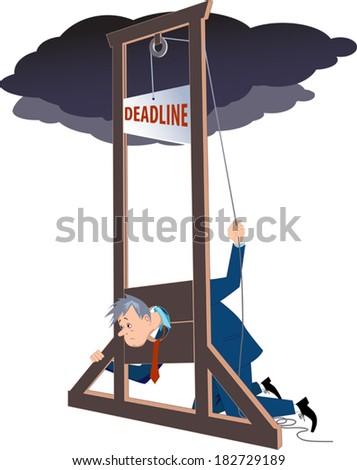 Businessman under a guillotine deadline - stock vector