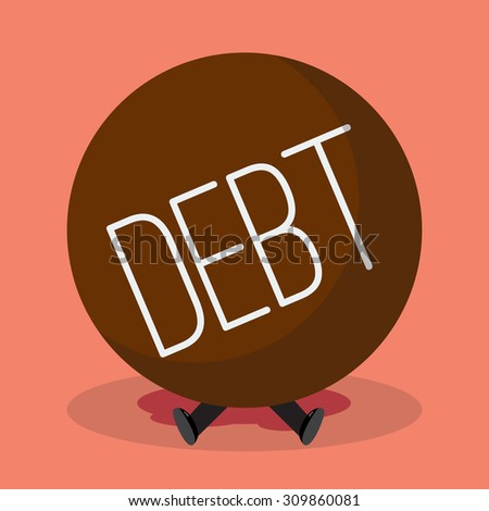Businessman under heavy debt. Business concept - stock vector