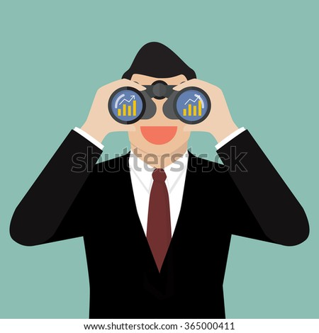 Businessman use binoculars looking for business future. Business vision concept - stock vector