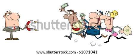 Businessman Using A Magnet Attracts People With Money - stock vector