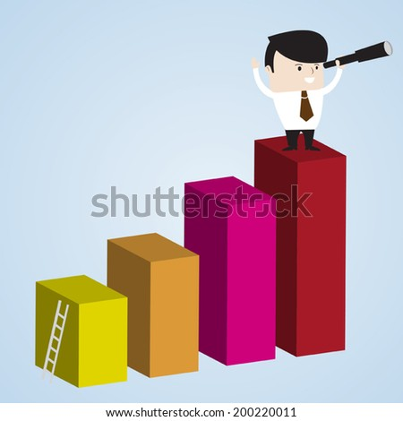 Businessman using binocular at top of higher profit bar chart. Success business concept. Vector EPS 10. - stock vector