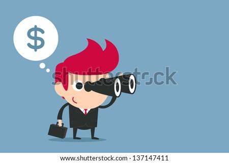 businessman using binoculars , vector - stock vector