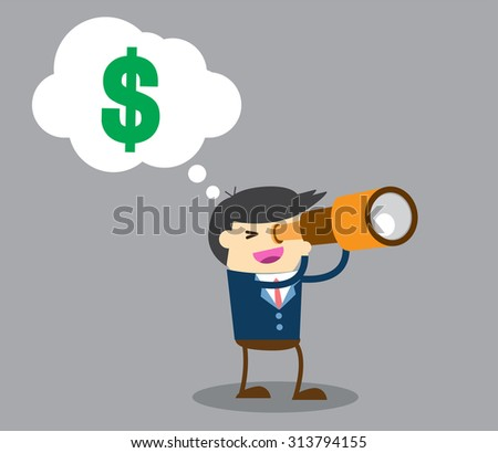 businessman using binoculars ,vector, Cartoon businessman looking for success, opportunities, future business trends through a telescope, flat illustration,dollar money, man, business concept. design.