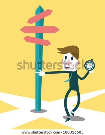 Businessman using compass to navigate the success way. Business and leadership concept. vector - stock vector
