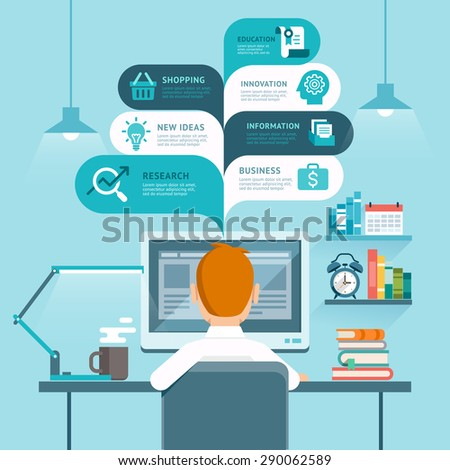 Businessman using computer. Vector illustration.  - stock vector