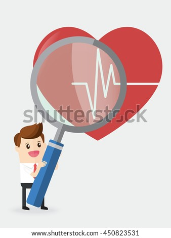 businessman using huge magnifying glass analyze heart with heart rate - stock vector
