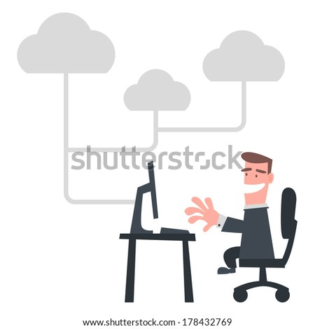 Businessman Using Internet - stock vector