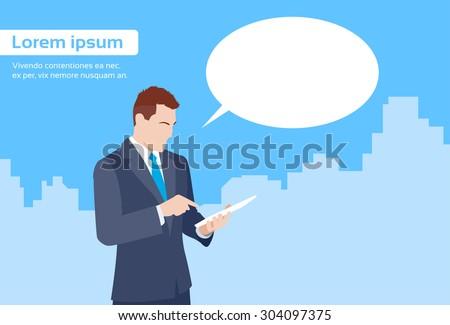 Businessman Using Tablet Computer Send Message Internet Texting Chat Communication Flat Vector Illustration - stock vector