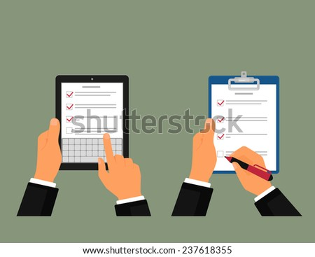Businessman using tablet pc and notepad with task list - stock vector