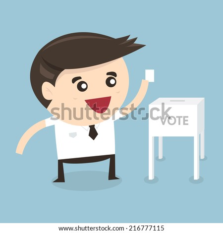 Businessman vote at ballot box, Vector illustration, flat design - stock vector