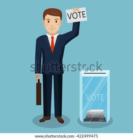 Businessman vote at transparent ballot box. Vector Illustration - stock vector