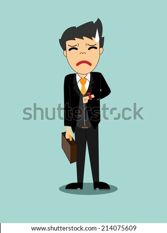 Businessman waiting anxiously watching the clock - stock vector