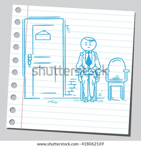 Businessman waiting for job interview - stock vector