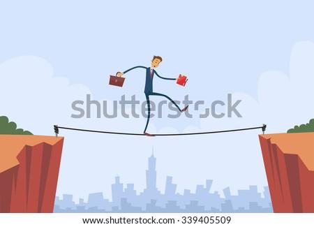 Businessman Walk Over Cliff Gap Mountain Business Man Balancing Wooden Stick Bridge Flat Vector Illustration - stock vector
