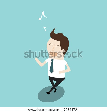 Businessman walking and singing - stock vector