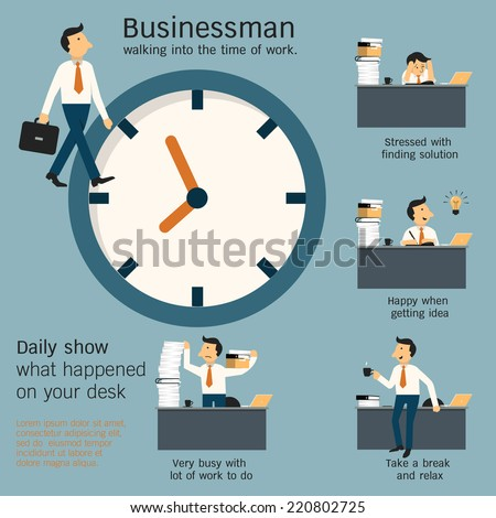Businessman walking in office and show what daily happening on desk in the workplace around the clock. Simple character with flat design. - stock vector
