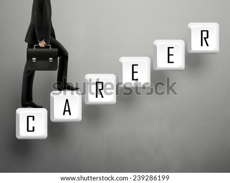 businessman walking on career keyboard stairs over grey - stock vector