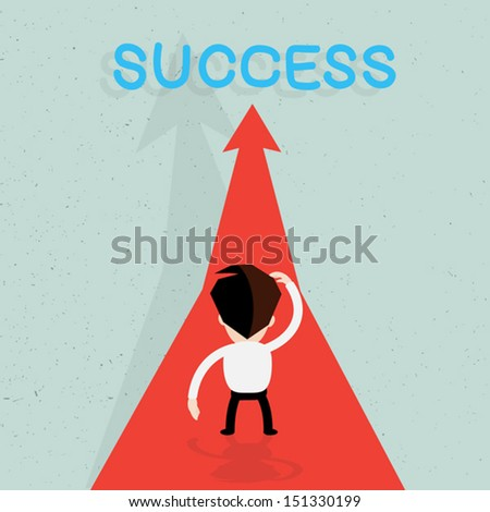 Businessman walking on the red arrow street to success