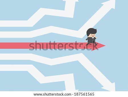 Businessman walking on the road of success, VECTOR, EPS10 - stock vector