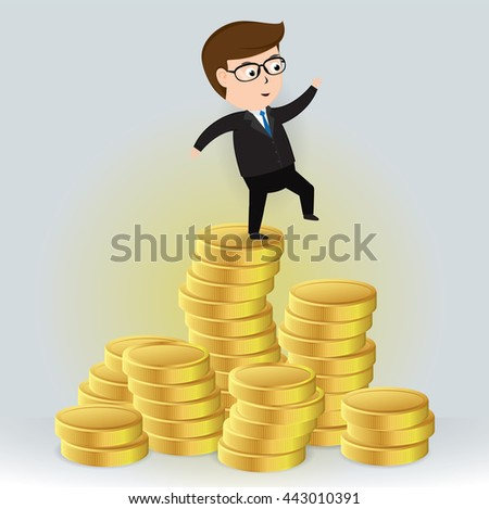 Businessman walking out of a pile of gold coins, Business Concept