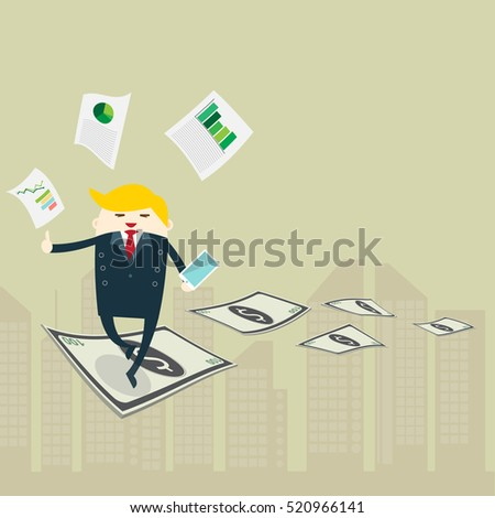 Businessman walking through gap of banknote. Business Growth Concept ,creativity design vector.