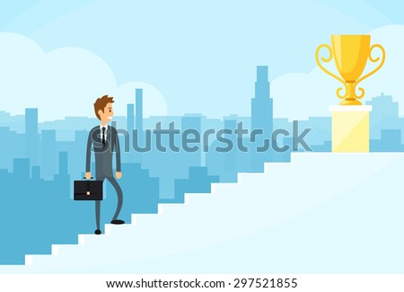Businessman Walking Up Stairs, Concept Business Man Win Price Flat Vector Illustration - stock vector