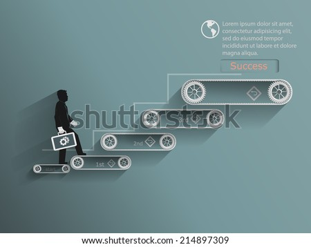 Businessman walking up stairs. stairway to success concept design.vector illustration  - stock vector