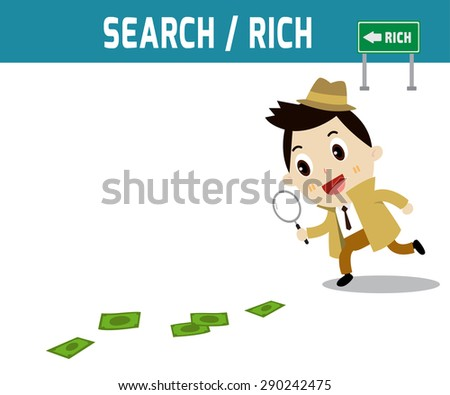 Businessman walking with magnifying glass, looking for money track on 