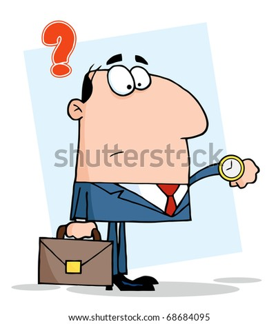 Businessman Watching The Clock - stock vector