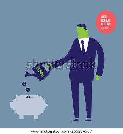 Businessman watering a money pig with coins. Vector illustration Eps10 file. Global colors&layers. - stock vector