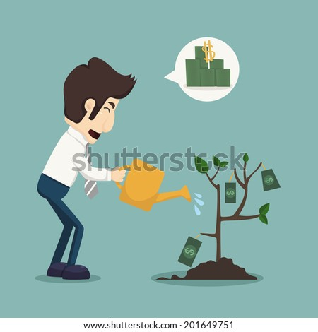 Businessman watering a plant of money, eps10 vector format - stock vector