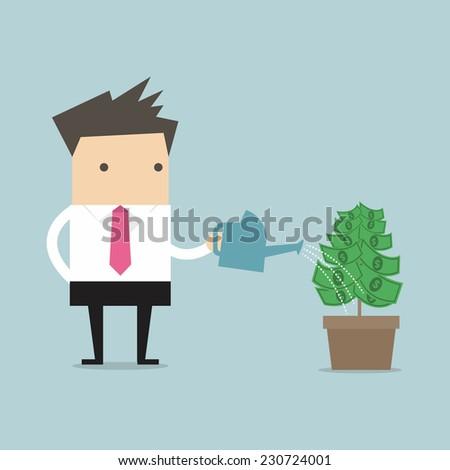 Businessman watering money plant vector - stock vector