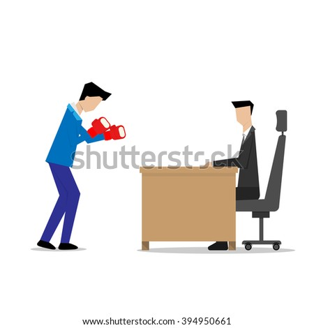 businessman wear boxing gloves interview concept