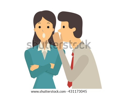 Businessman whispers to his colleague in office about gossip, rumor, or secrets.  - stock vector