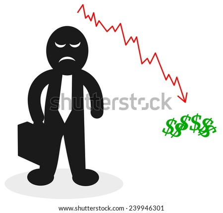 businessman who lost money - stock vector