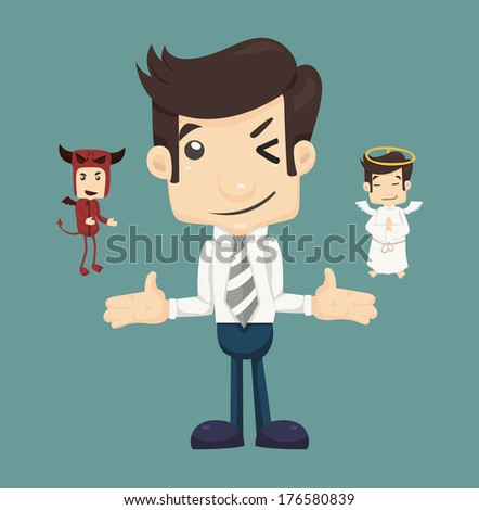 Businessman wills with devil and an angel , eps10 vector format - stock vector
